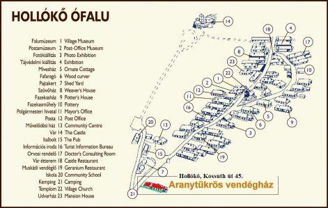 hollókő térkép Hollókő ARANYTÜKRÖS vendégház hollókő térkép